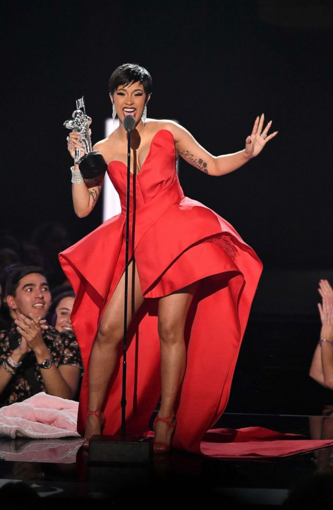 PHOTO: Cardi B speaks onstage during the 2018 MTV Video Music Awards at Radio City Music Hall in New York City, Aug. 20, 2018.