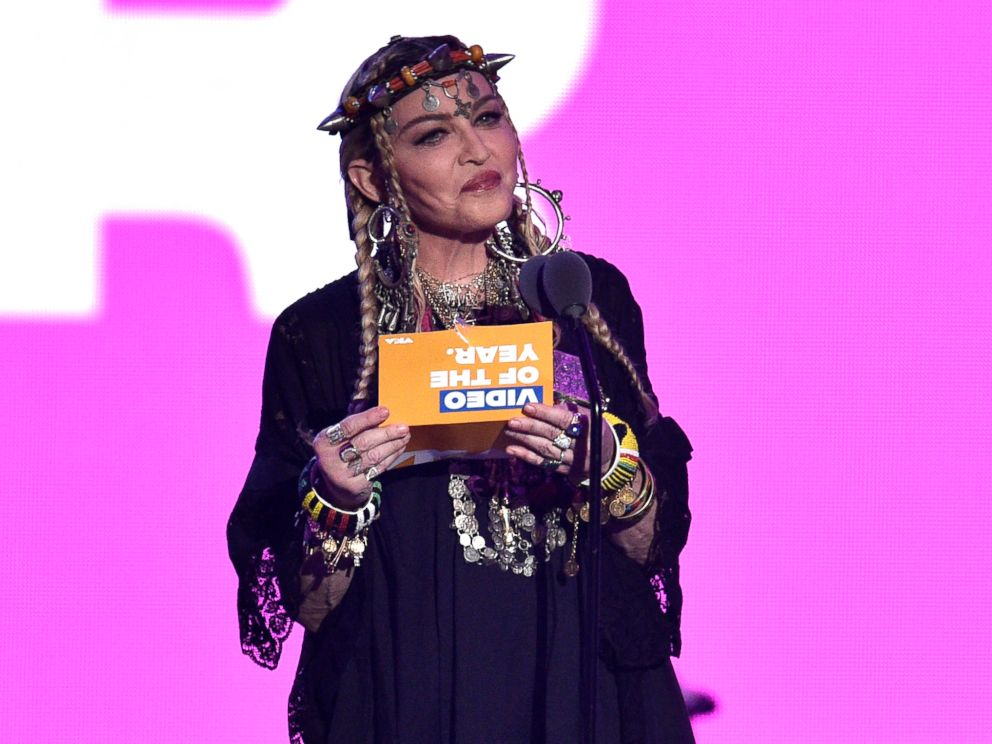 Madonna presents the award for video of the year at the MTV Video Music Awards at Radio City Music Hall on Monday, Aug. 20, 2018, in New York.