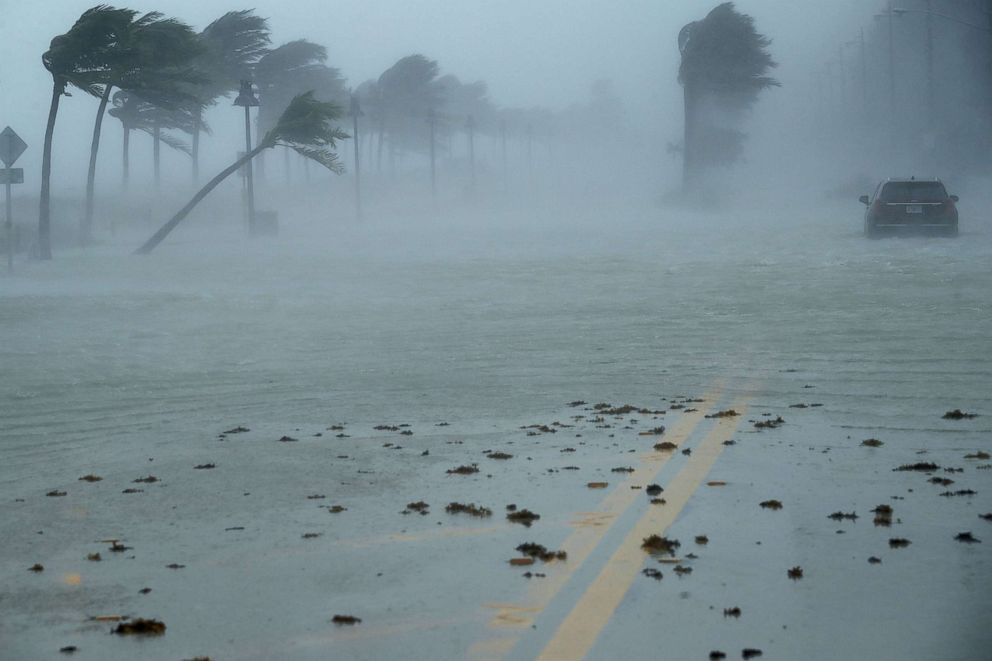 PHOTO: In this file photo, a car sits abandoned in storm surge along North Fort Lauderdale Beach Boulevard as Hurricane Irma hits the southern part of the state, Sept. 10, 2017, in Fort Lauderdale, Fla.