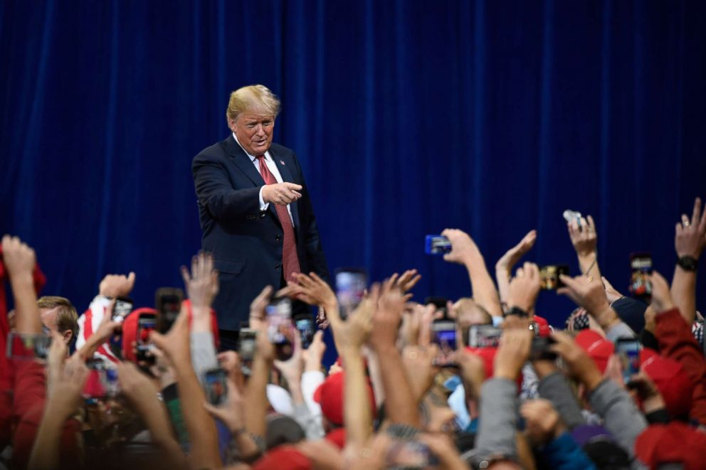 PHOTO: President Donald Trump walks to the stage at a campaign rally, Oct. 4, 2018 at Mayo Civic Center in Rochester, Minn.