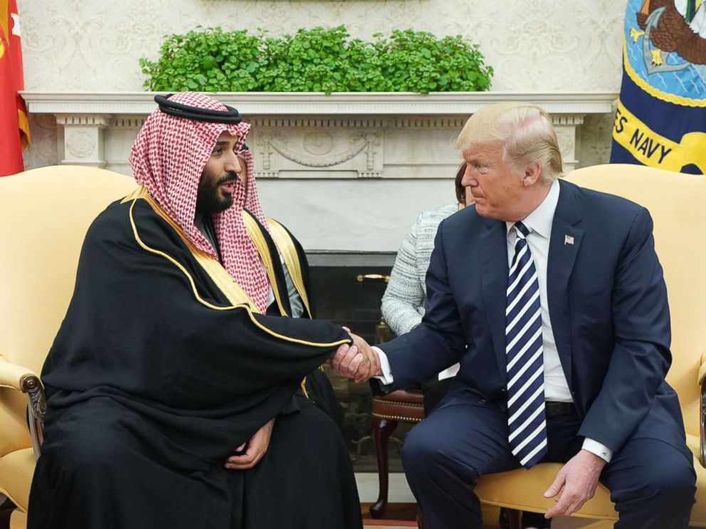 PHOTO: President Donald Trump shakes hands with Saudi Arabias Crown Prince Mohammed bin Salman in the Oval Office of the White House, March 20, 2018, in Washington, DC.