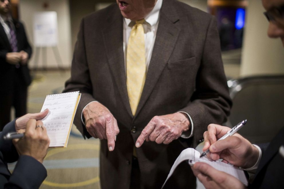 PHOTO: House Minority Whip Steny Hoyer gestures while speaking to reporters on Nov. 6, 2018 in Washington.