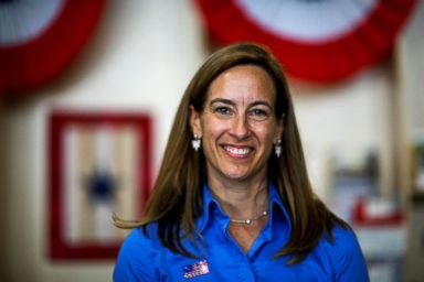 PHOTO: U.S. Democratic congressional candidate Mikie Sherrill poses for a picture as she campaigns during the New Jersey State Fair in Augusta, New Jersey, Aug. 12, 2018.