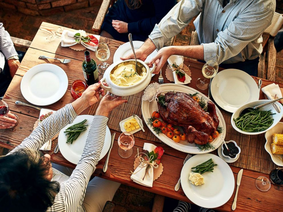 PHOTO: This stock photo depicts a family enjoying a Thanksgiving meal.