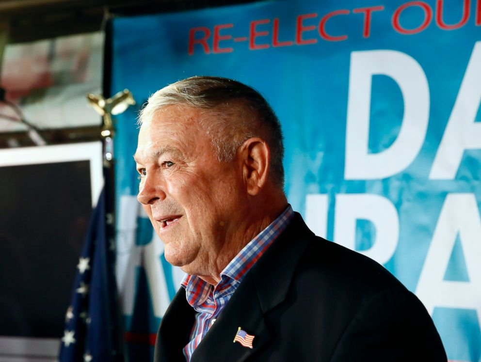 PHOTO: U.S. Rep. Dana Rohrabacher addresses members of the media and supporters waiting for elections results at the Skosh Monahans Irish Pub in Costa Mesa, Calif., Nov. 6, 2018.