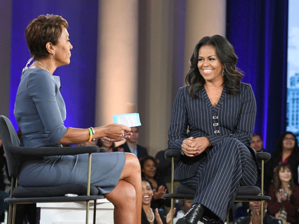 PHOTO: Former first lady Michelle Obama speaks to ABC News Robin Roberts in Chicago about her memoir, Becoming, Nov. 13, 2018.