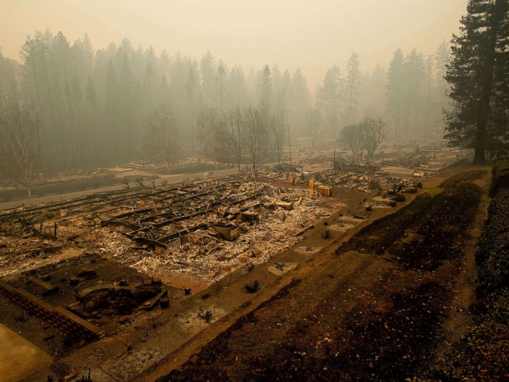 PHOTO: Leveled residences line a mobile home park on Edgewood Lane after the Camp Fire burned through Paradise, Calif., on Nov. 10, 2018.