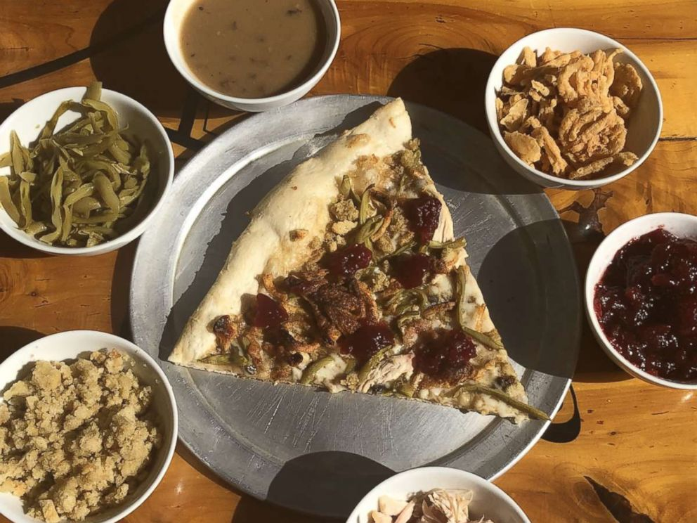 PHOTO: The Pizza Joint in El, Paso, Texas, created this Thanksgiving pizza featuring turkey, cranberry sauce, gravy and more.