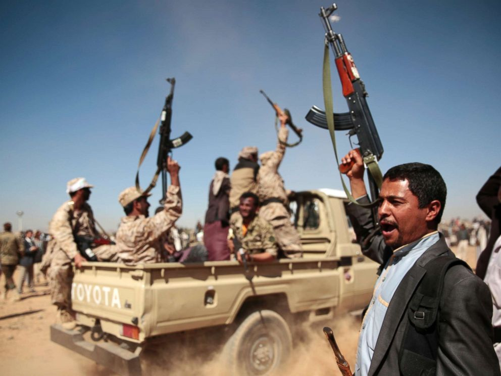 PHOTO: A tribesman loyal to Yemens Shiite Houthi rebels, right, chants slogans during a gathering aimed at mobilizing more fighters into battlefronts to fight pro-government forces in several Yemeni cities, in Sanaa, Yemen, Jan. 3, 2017.